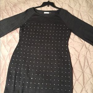 Calvin Klein/Pewter Grey/ Rhinestone Sweater Dress